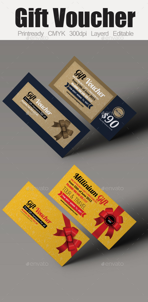 Multi Use Business Gift Voucher Bundle - Cards & Invites Print Templates