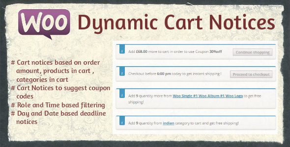 Woocommerce Dynamic Cart Notices - CodeCanyon Item for Sale