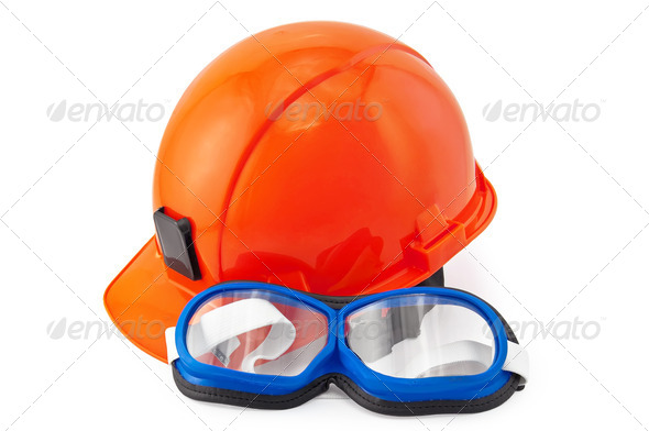 Helmet orange and goggles - Stock Photo - Images