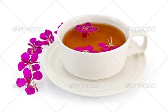 Herbal tea in a white cup with fireweed - Stock Photo - Images