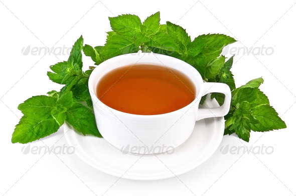 Herbal tea in a white cup with mint - Stock Photo - Images