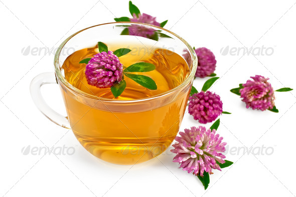 Herbal teas with clover in a glass cup - Stock Photo - Images