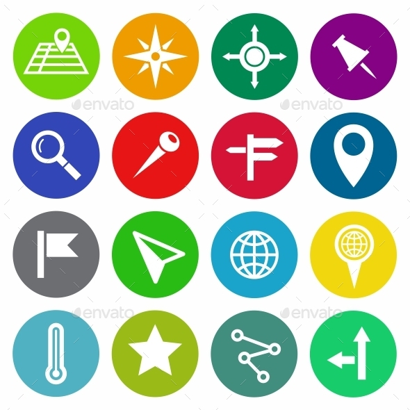 Location and Map Vector Flat Icons - Web Icons