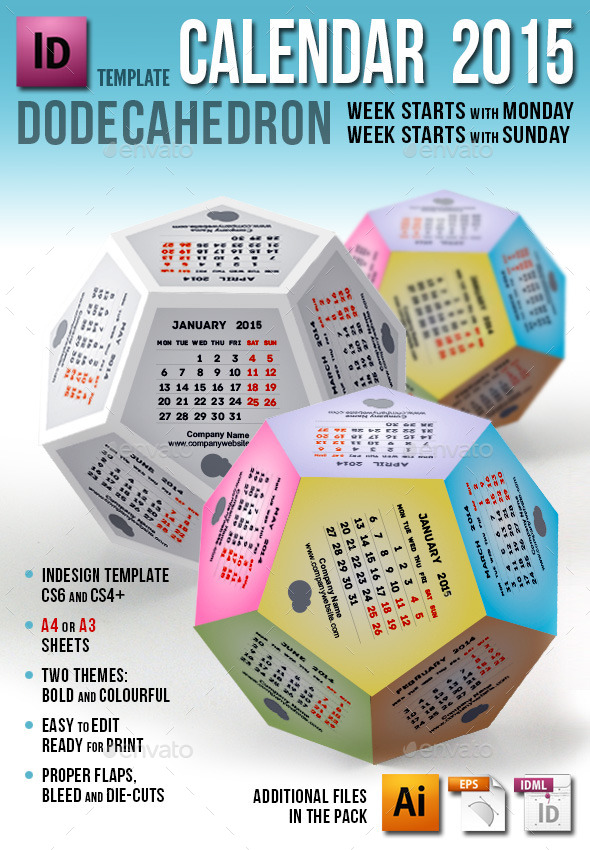 Calendar 2015 - Dodecahedron  - Calendars Stationery