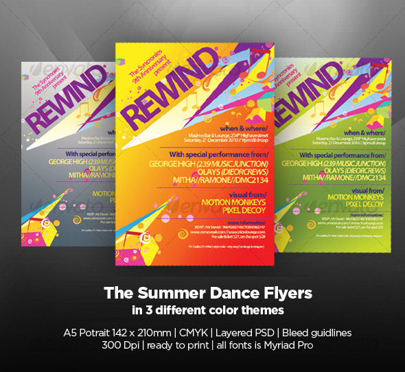 The Summer Dance Flyers - Clubs & Parties Events