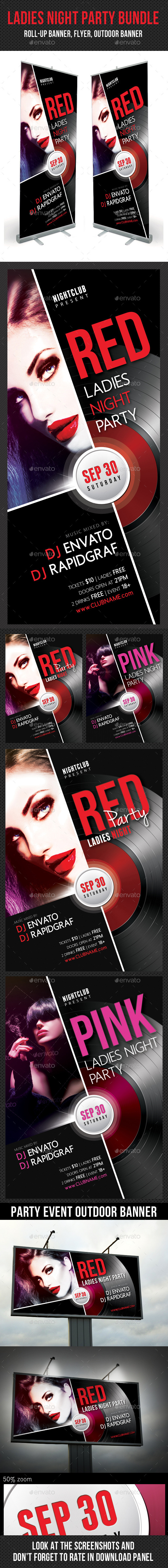 3 in 1 Ladies Night Party Banners Flyer Bundle - Signage Print Templates