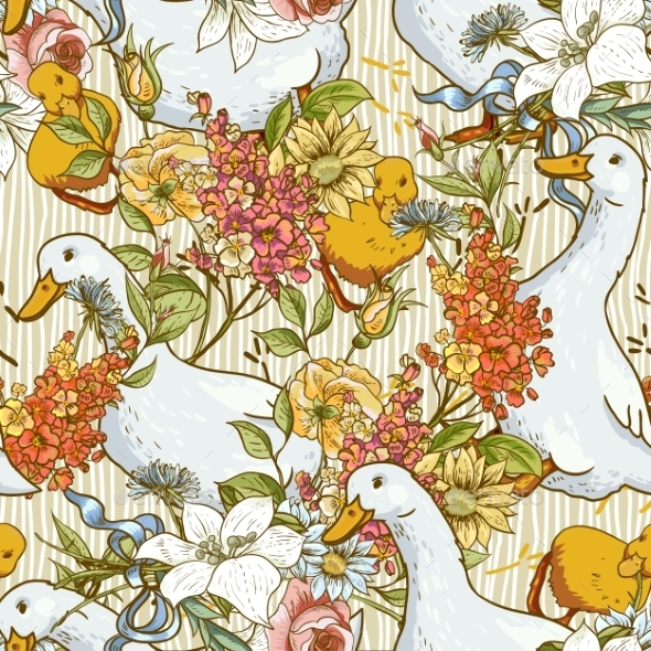 Seamless Background with Ducks and Flowers - Patterns Decorative