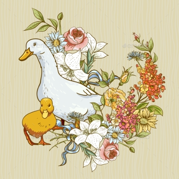 Background with Ducks and Flowers - Patterns Decorative