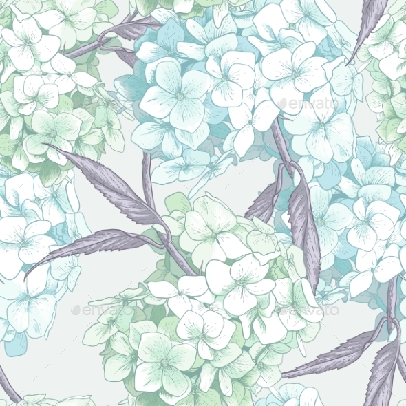 Blue Hydrangea Seamless Background - Patterns Decorative