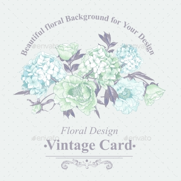 Gentle Blue Vintage Floral Greeting Card  - Patterns Decorative