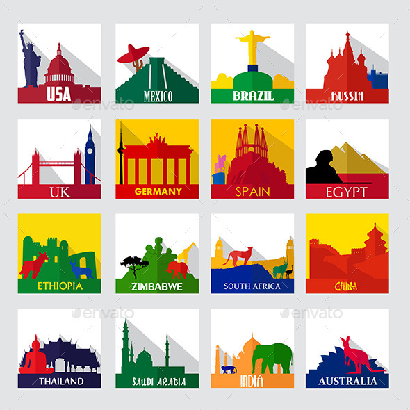 Popular Sightseeing Spots in the World Icons - Buildings Objects
