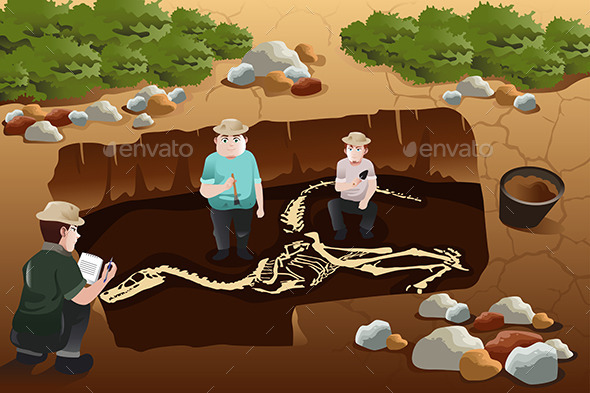 Men Dscovering Dinosaurs Fossils - People Characters