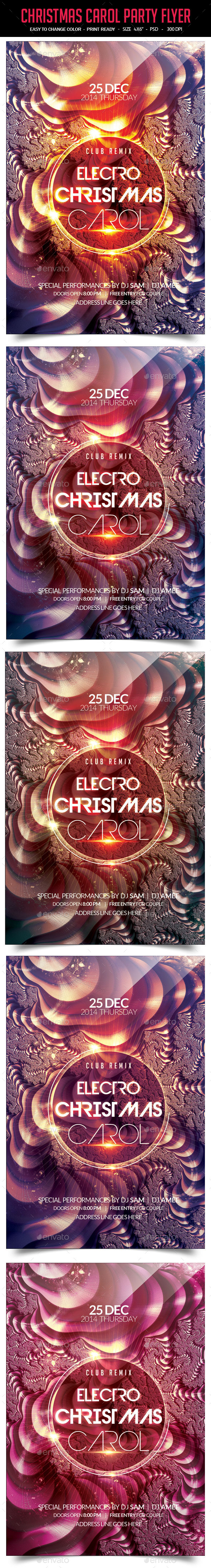 Electro Christmas Carol Party Flyer - Clubs & Parties Events
