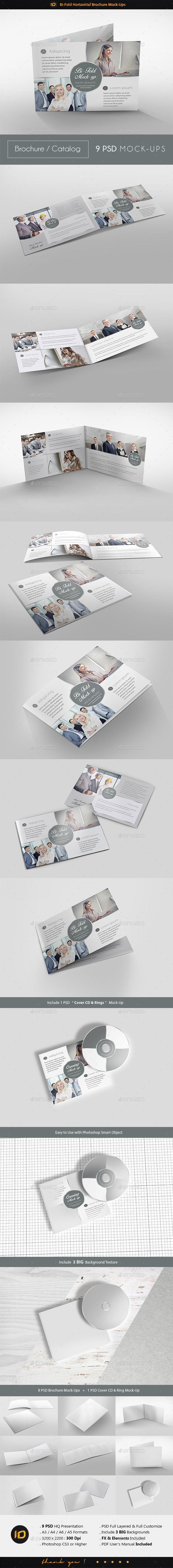 Bi-Fold Horizontal Brochure Mock-Up - Brochures Print