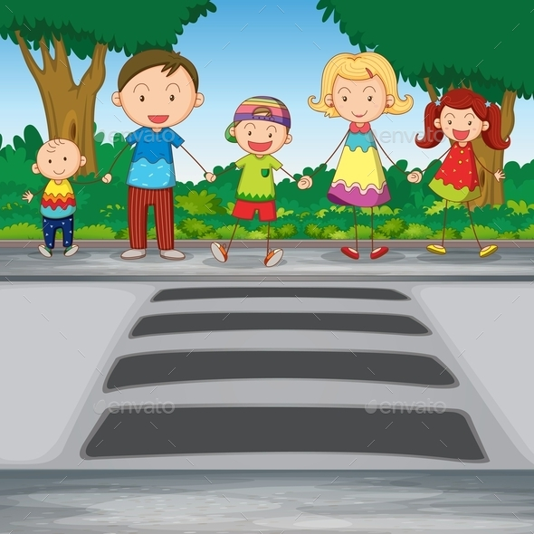 Family Crossing Road - People Characters