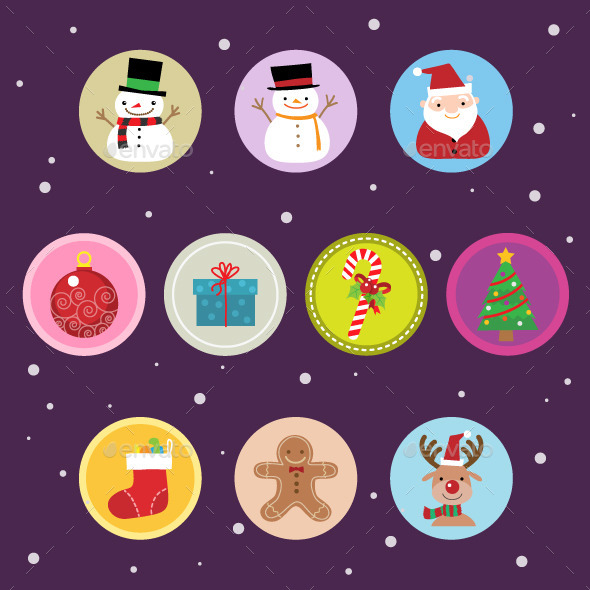 10 Flat Christmas Icons vol 2 - Seasonal Icons