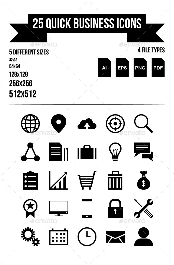 25 Quick Business Icons - Web Icons