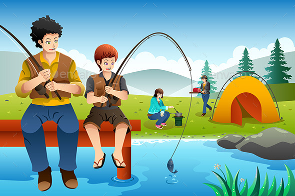 Family Going Fishing on a Camping Trip - Travel Conceptual
