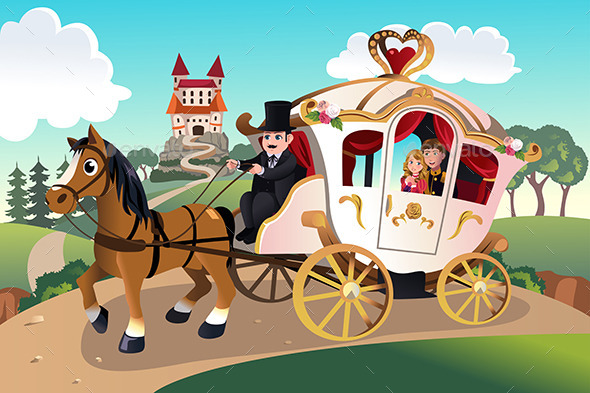 Prince and Princess in Horse Wagon - People Characters