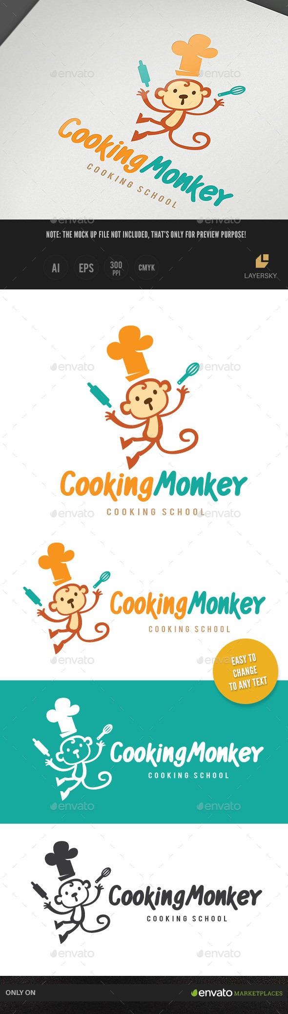 Cooking Monkey - Animals Logo Templates