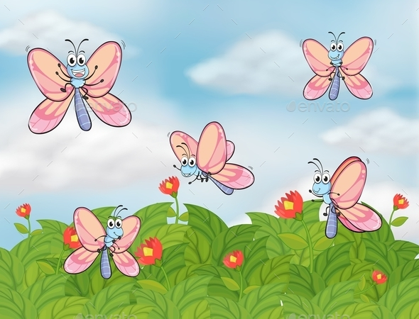 Garden with Butterflies - Animals Characters
