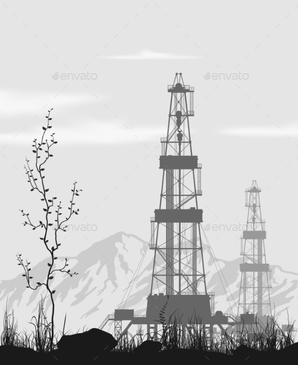 Oil Rigs Over Mountain Range - Industries Business