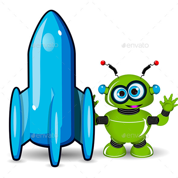 Green Robot and Rocket - Technology Conceptual