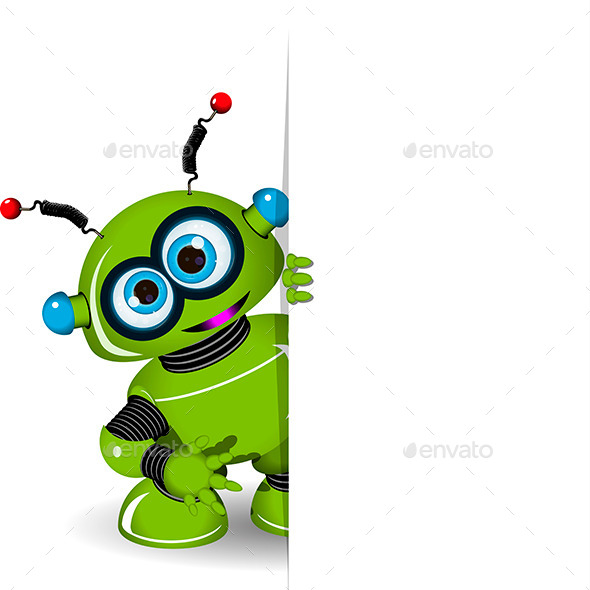 Green Robot and White Background - Backgrounds Decorative
