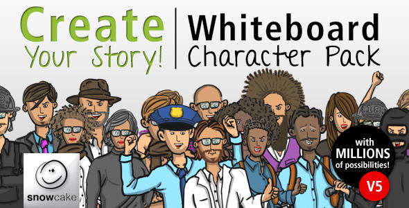Videohive - Create Your Story Whiteboard Character Pack v5 5833338