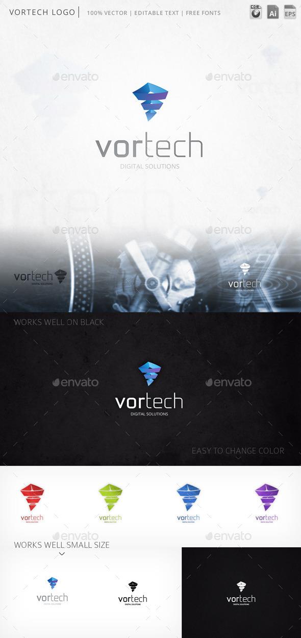 Vortech Abstract Pyramidal Logo Template - Abstract Logo Templates