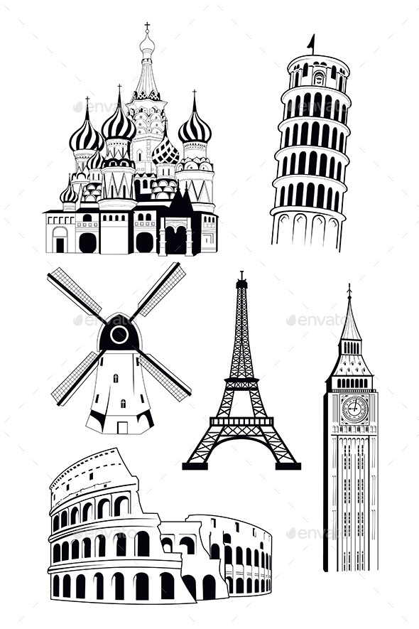 European Travel Destinations  - Buildings Objects