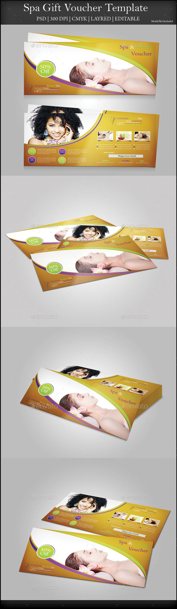 Spa Gift Voucher - Cards & Invites Print Templates
