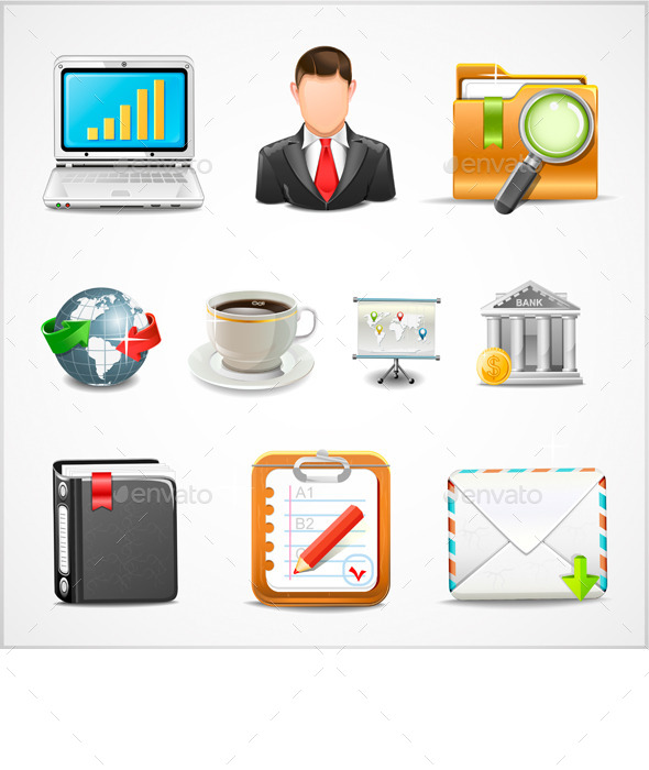 Icons Workplace, Items of Business Vector - Business Icons