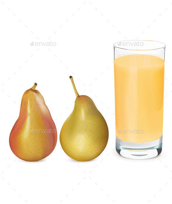 Pears and Glass of Fresh Pear Juice - Food Objects