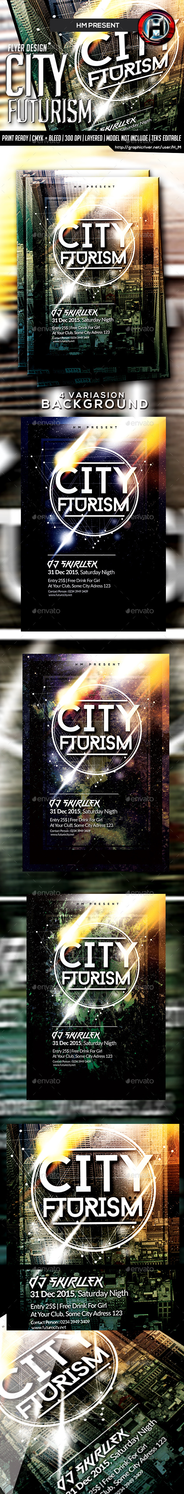 Futurism City Flyer Design - Events Flyers