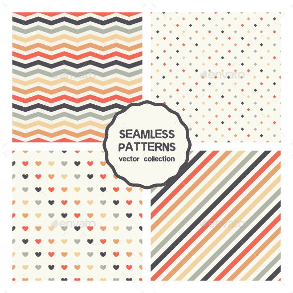Vector Set of Four Colorful Seamless Patterns - Patterns Decorative