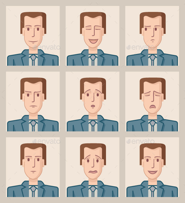Facial Expressions of a Businessman - People Characters