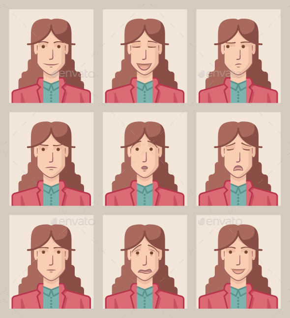 Facial Expressions of a Businesswoman - People Characters