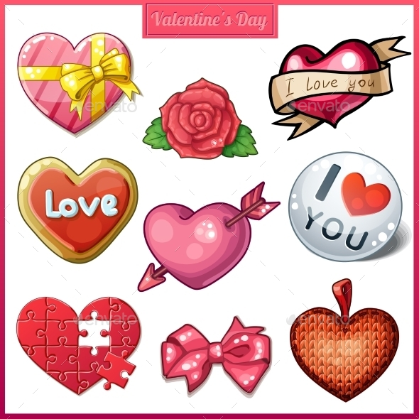 Set of Candy Heart Icons for Valentine's Day - Miscellaneous Vectors