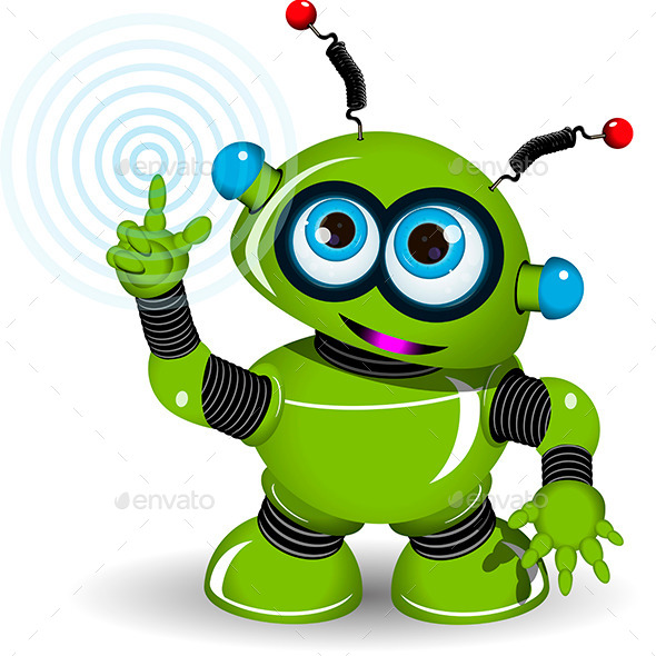 Cheerful Green Robot - Communications Technology