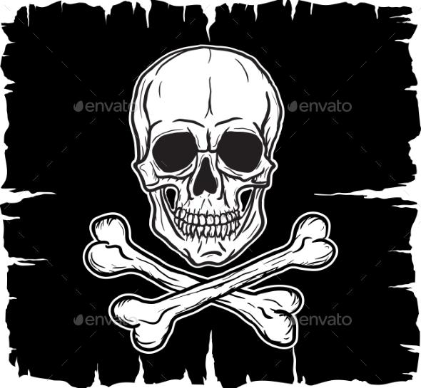 Skull and Crossbones Over Black Flag - Objects Vectors