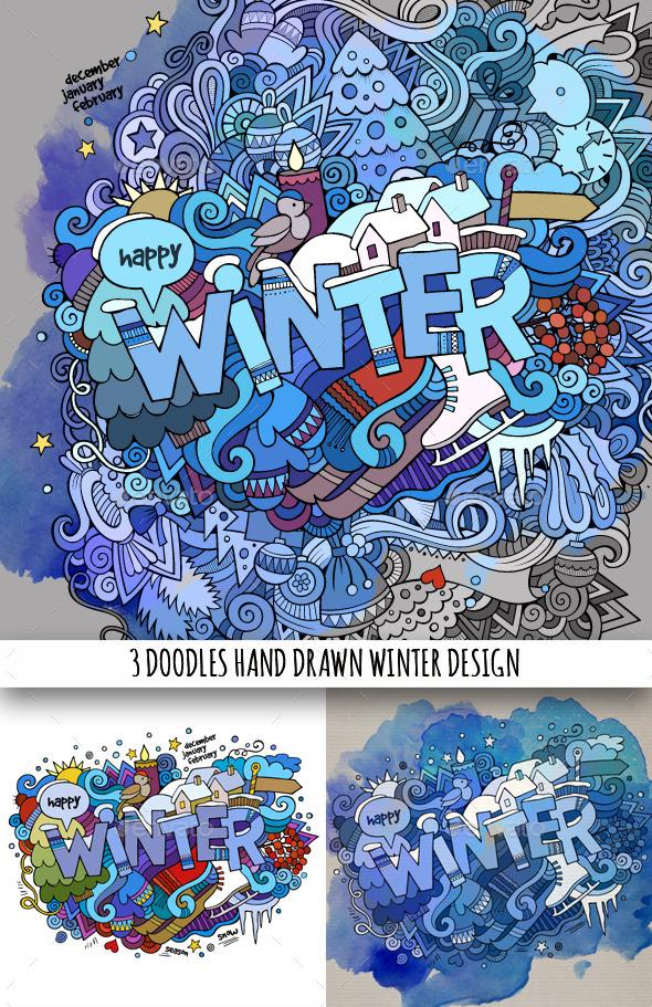 3 Winter Doodles Designs - Seasons/Holidays Conceptual