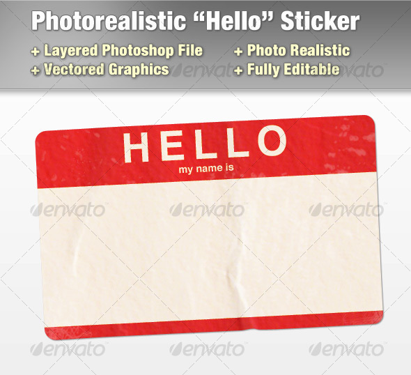 "Layered Photorealistic ""Hello"" Sticker - Objects Illustrations"