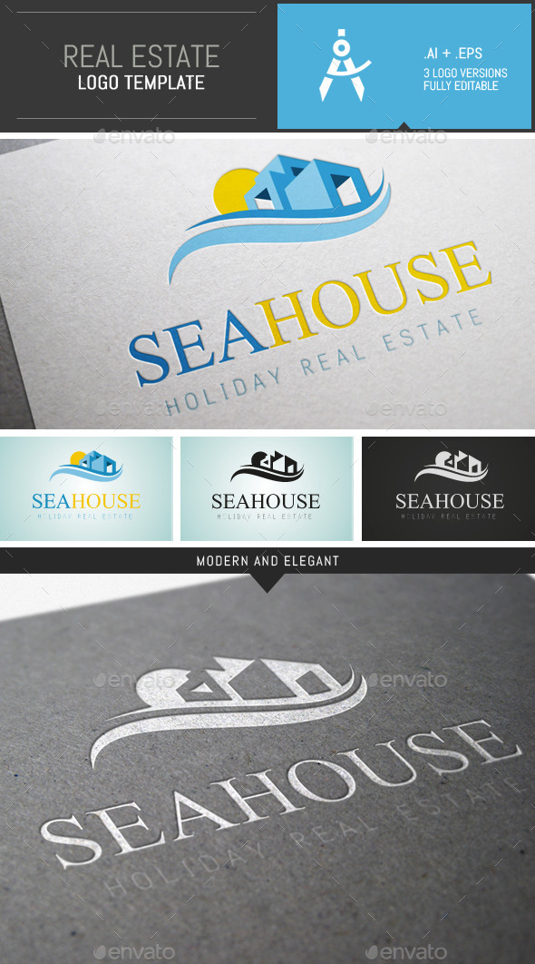 Elegant Holiday Real Estate Logo Template - Buildings Logo Templates