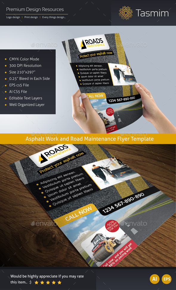 Road Maintenance Flyer Template - Corporate Flyers