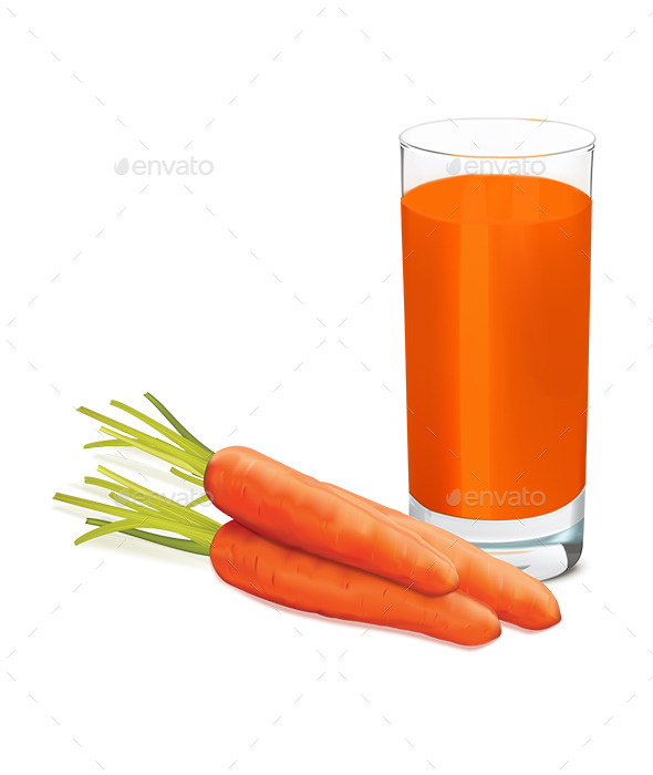 Carrots and Glass of Fresh Carrot Juice - Food Objects