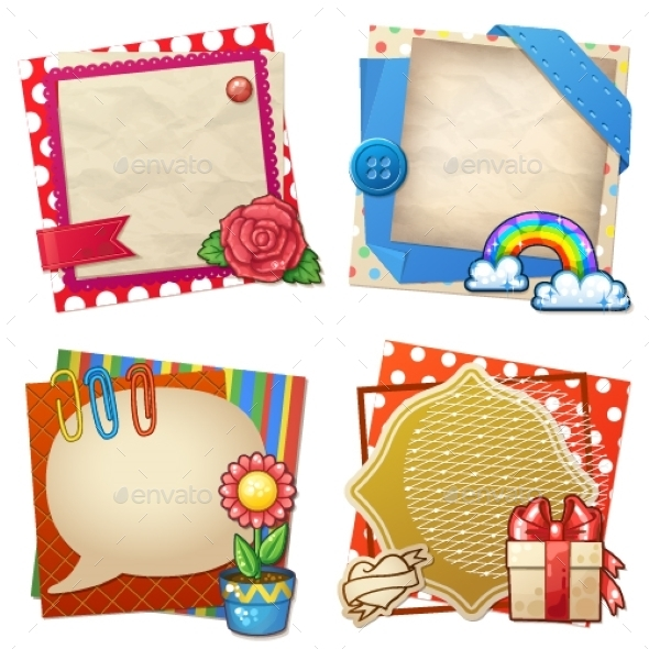 Sets of Paper and Other Items for Scrapbooking - Decorative Vectors