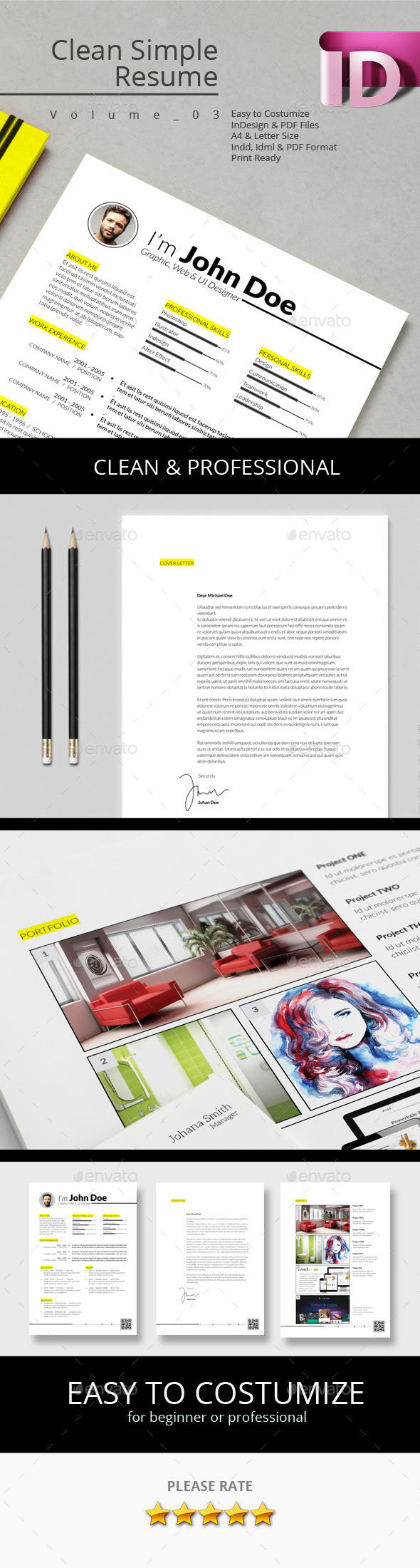 Clean Simple Resume V.03 - Resumes Stationery