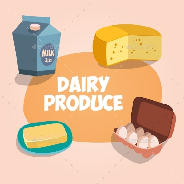 Dairy Produce Illustration - Food Objects
