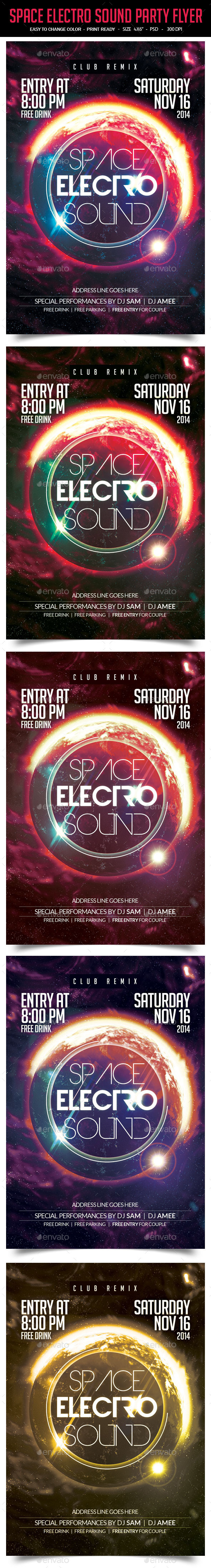 Space Electro Sound Party Flyer - Clubs & Parties Events